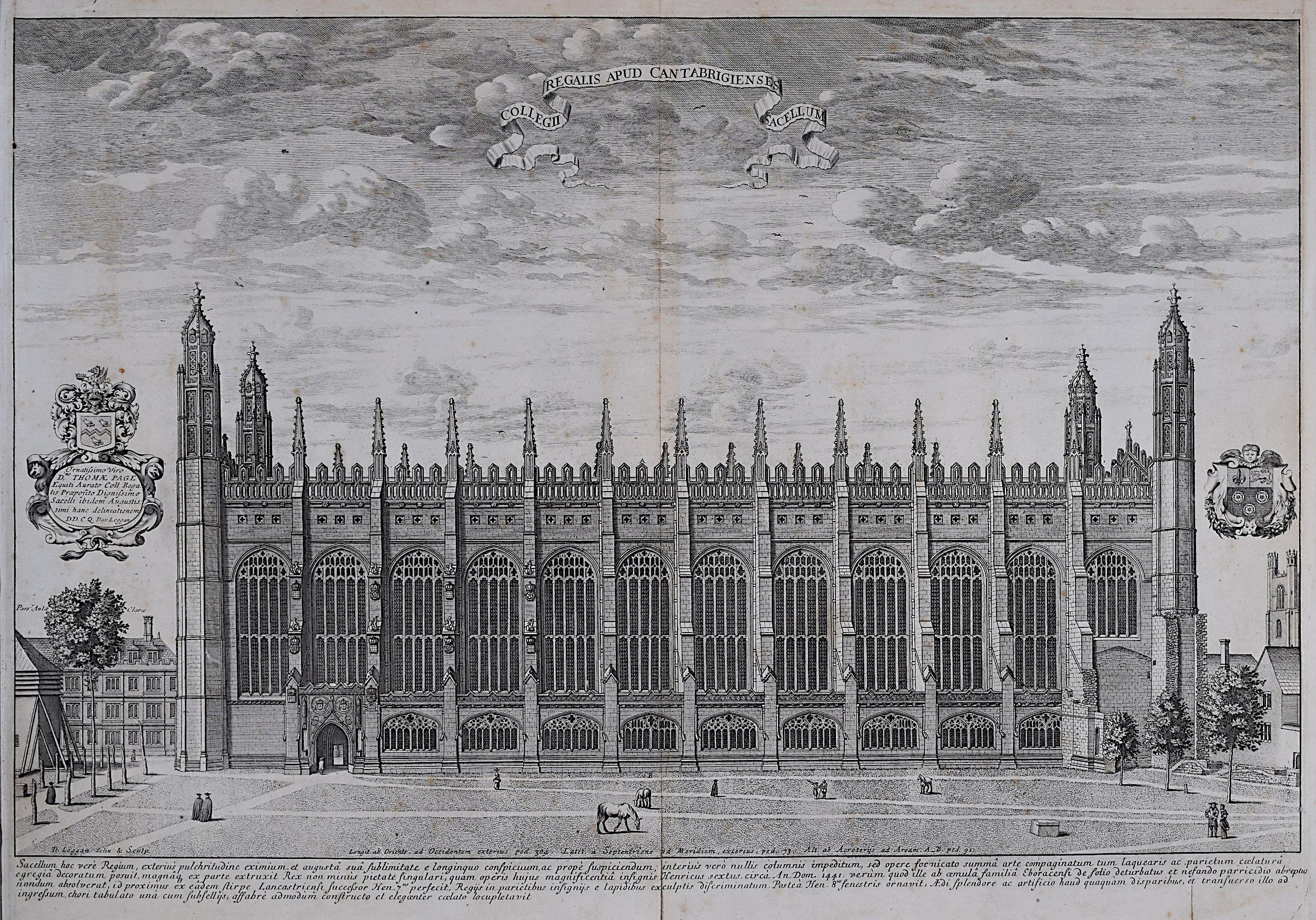 David Loggan King's College Cambridge Chapel South Front engraving 1690