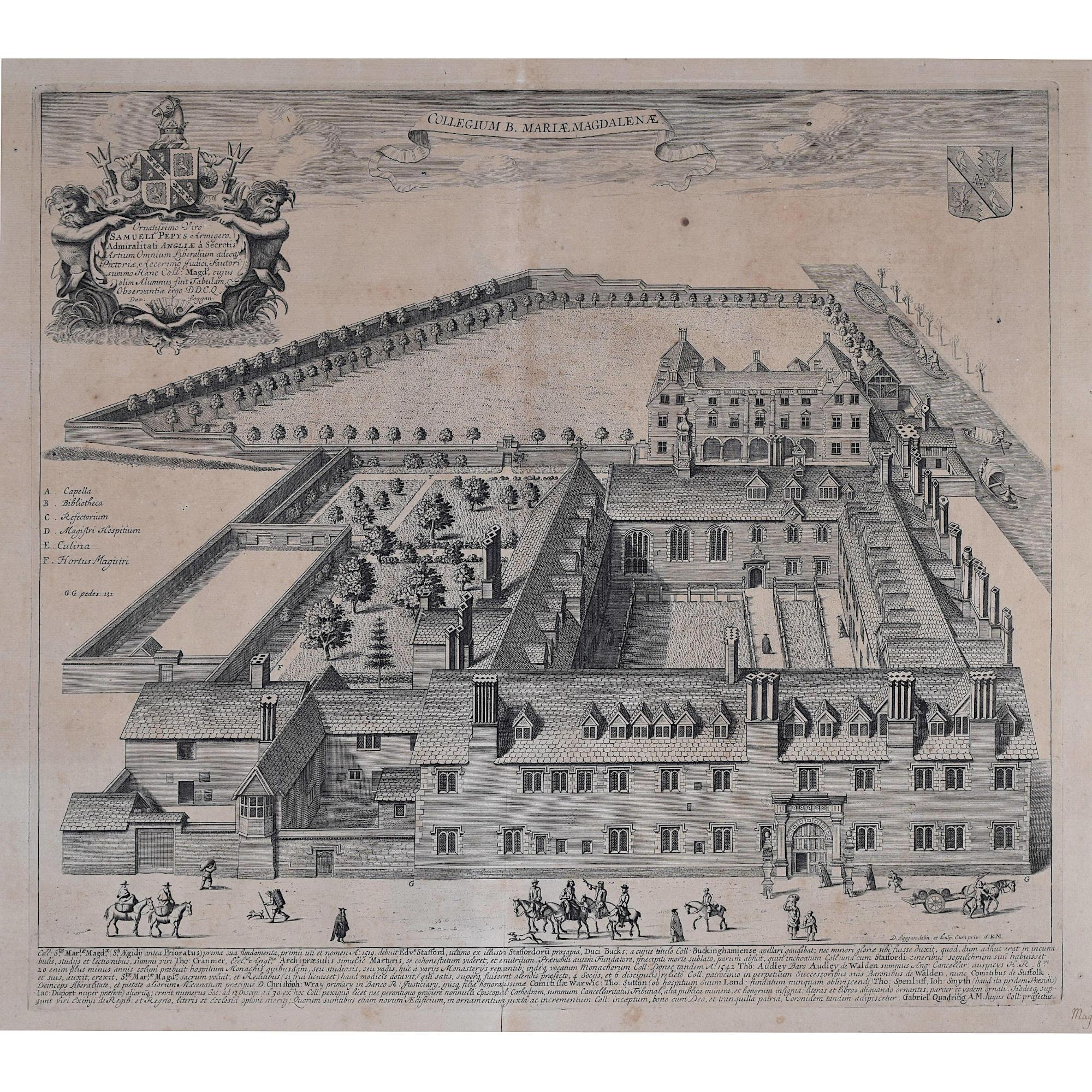 David Loggan Magdalene College Cambridge engraving 1690