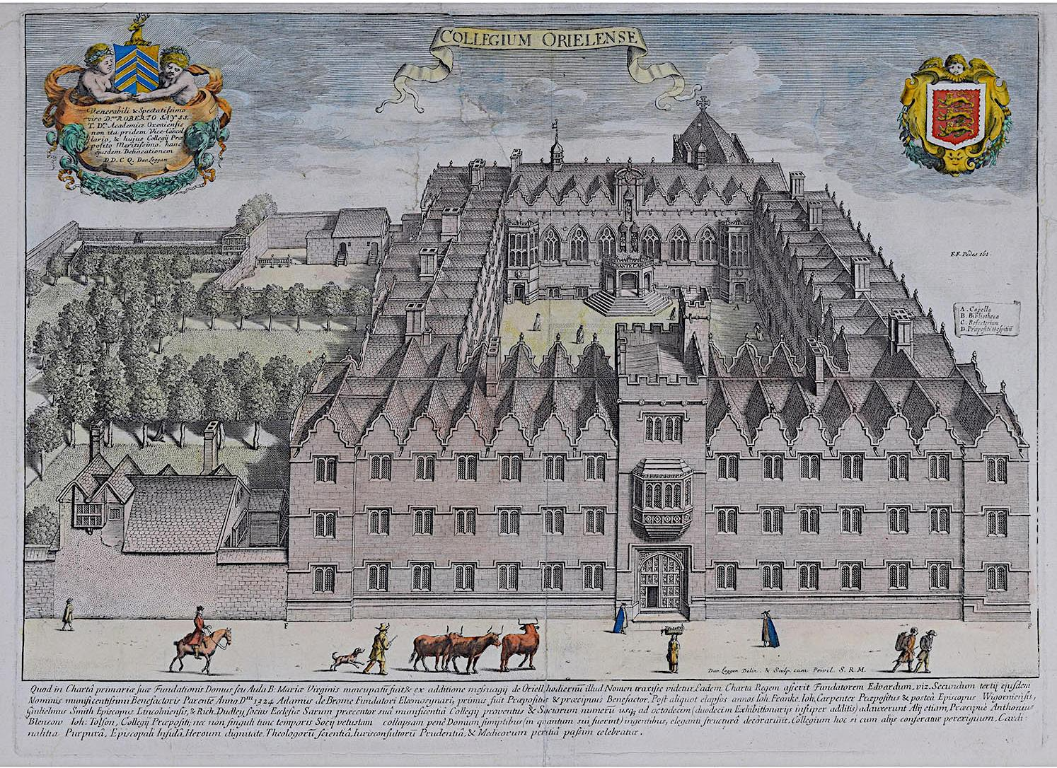 David Loggan Oriel College Oxford - Collegium Orielense - 1675 engraving