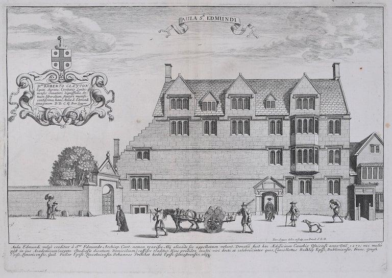 David Loggan St Edmund Hall Oxford - Aula St Edmundi - 1675 engraving - Print by David Loggan