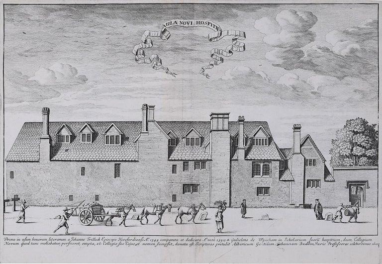 David Loggan St Peter's College Oxford New Hall Inn - Aula Novi Hospitii 1675  - Print by David Loggan