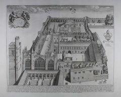 New College, Oxford, engraving aerial view, 1690 David Loggan