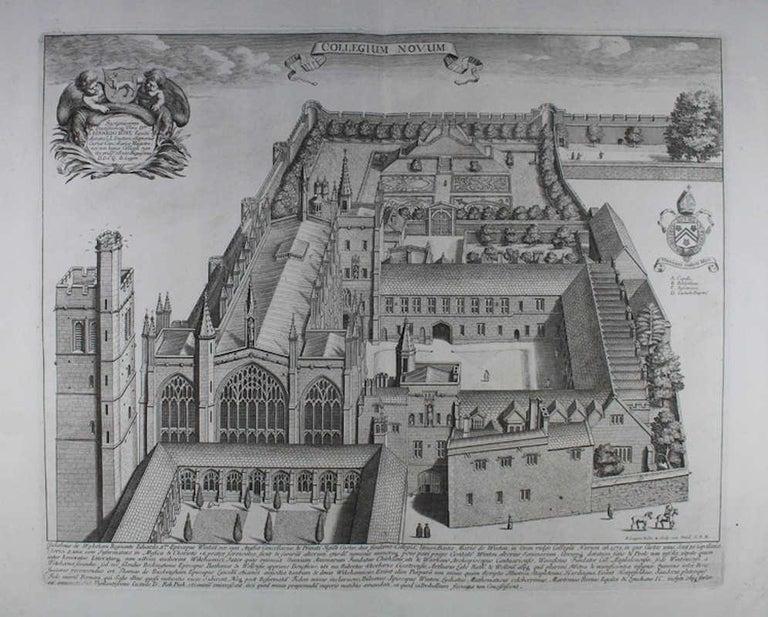 New College, Oxford, engraving aerial view, 1690 David Loggan  - Print by David Loggan