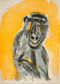 """Early Man"", African baboon portrait etching, aquatint print, orange, blue gray."
