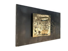 """"""" ENTWINED """" Unique Mural for in/outdoors, , Sandcast Brass/Steel, Black/Gold"""