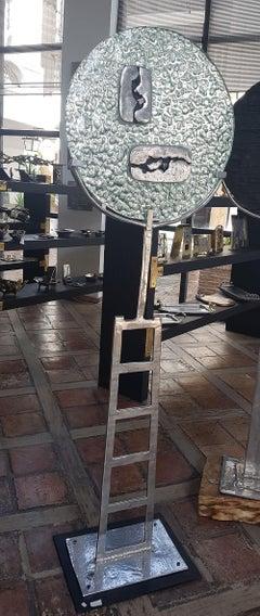 """"""" PHIRT FAULT """" , unique sculpture by DM, hand cast glass, sand cast aluminium"""