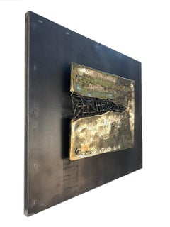 """HORIZONTAL INFILL""  Unique Mural, In/Outdoor, , cast Brass/Steel, Black/Gold"