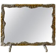 David Marshall Brutal Style Brass and Aluminum Vanity Mirror