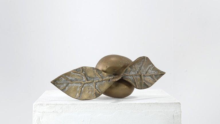 Late 20th Century David Marshall Desenos Brass Apple Sculpture