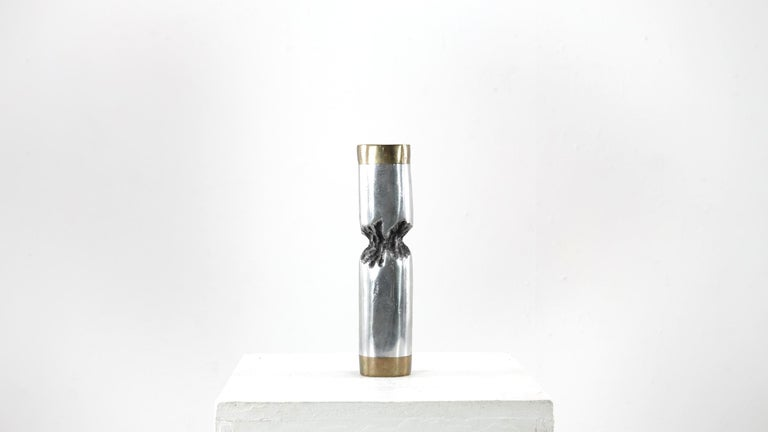 Original signed David Marshall Desenos Brutalist aluminum and brass candlestick in very good condition with a light patina all around. Very good vintage item has no defects, light wear consistent with age and use.