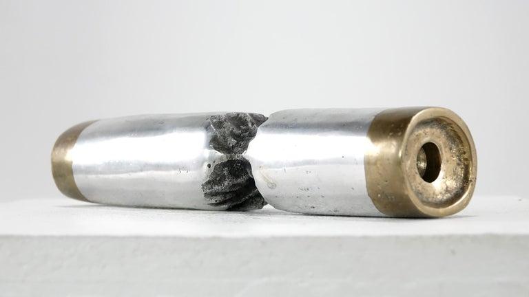 Spanish David Marshall Desenos Brutalist Aluminum and Brass Candlestick For Sale