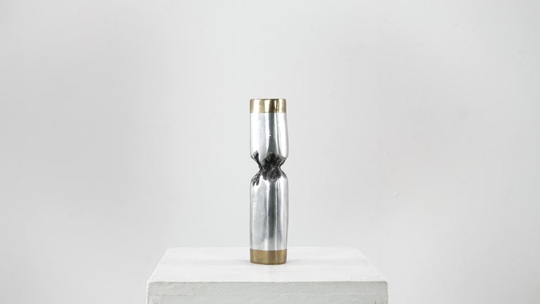 David Marshall Desenos Brutalist Aluminum and Brass Candlestick In Good Condition For Sale In Munster, NRW