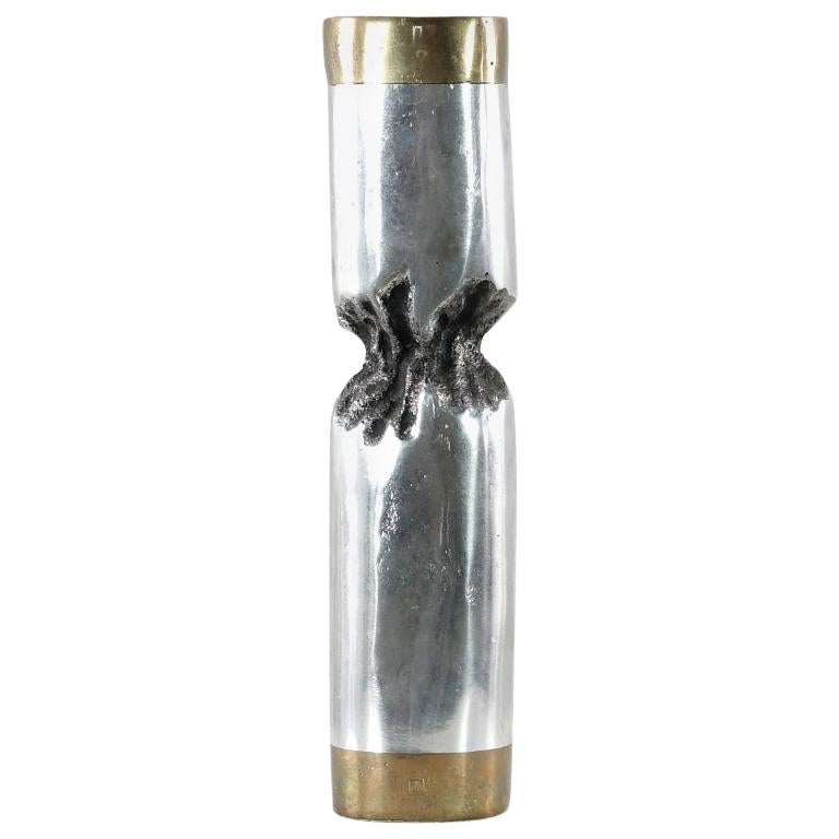 David Marshall Desenos Brutalist Aluminum and Brass Candlestick For Sale
