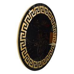David Marshall Round Wall Mirror Eglomise Greek Key Design SPAIN, 1970s