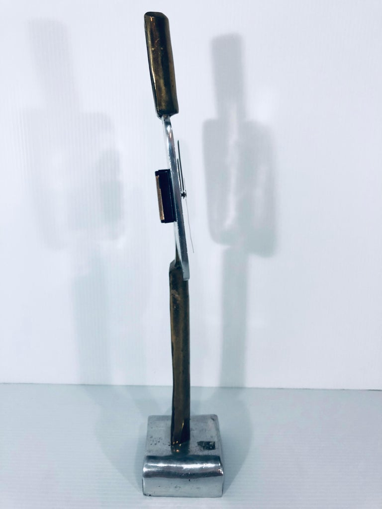 American David Marshall Signed Sculptural Clock For Sale