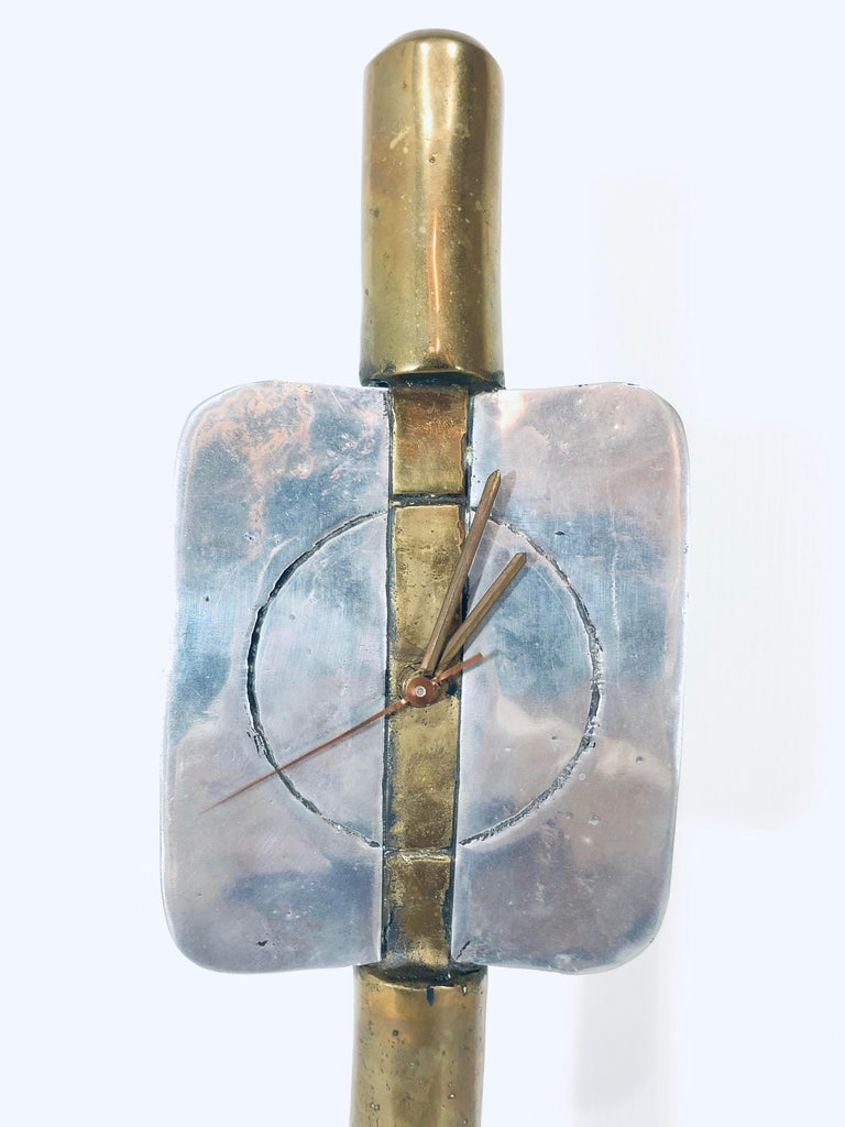 Late 20th Century David Marshall Signed Sculptural Clock For Sale