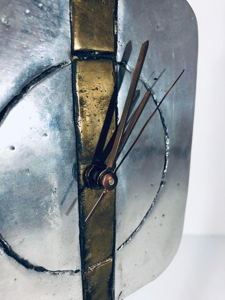 Aluminum David Marshall Signed Sculptural Clock For Sale