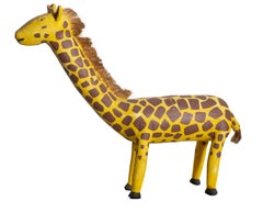 Giraffe, Hand-carved and Painted Wooden Sculpture