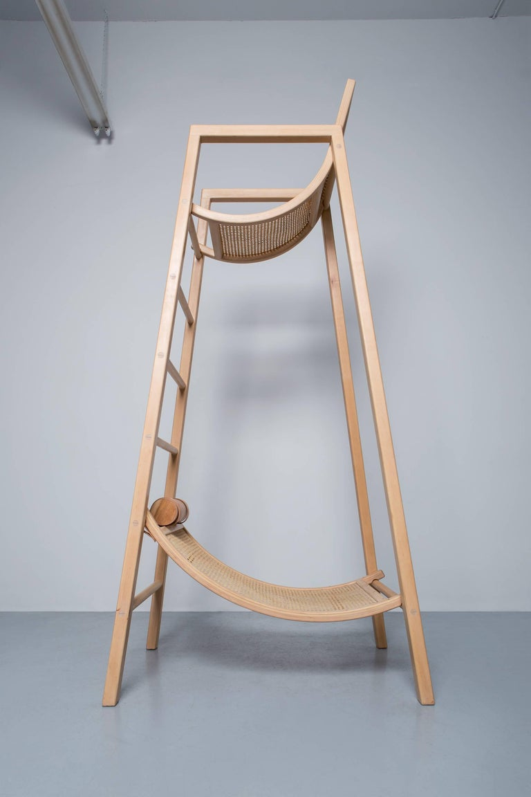 Caning David Mazel Tov Life Guard Chair, Handcrafted Maple Coastal Inspiration Seating For Sale
