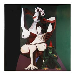Large Contemporary Cubist Portrait of Woman & Monkey In the Style of Picasso