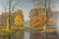 David Mead (1906-1986) - Signed 1975 Oil, A View over the Lake