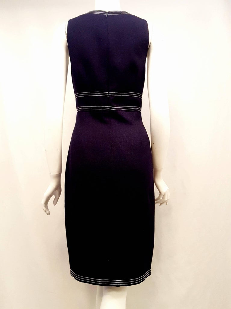 David Meister Navy Sleeveless Sheath Dress with White Stitching For ...