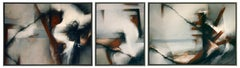 Oil on Linen Abstract Triptych Painting: 'Ostend'