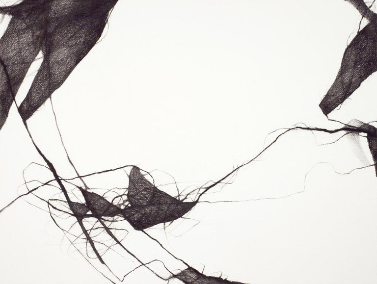 Charcoal Minimal Abstract Drawing: 'Voices III' - Painting by David Mellen