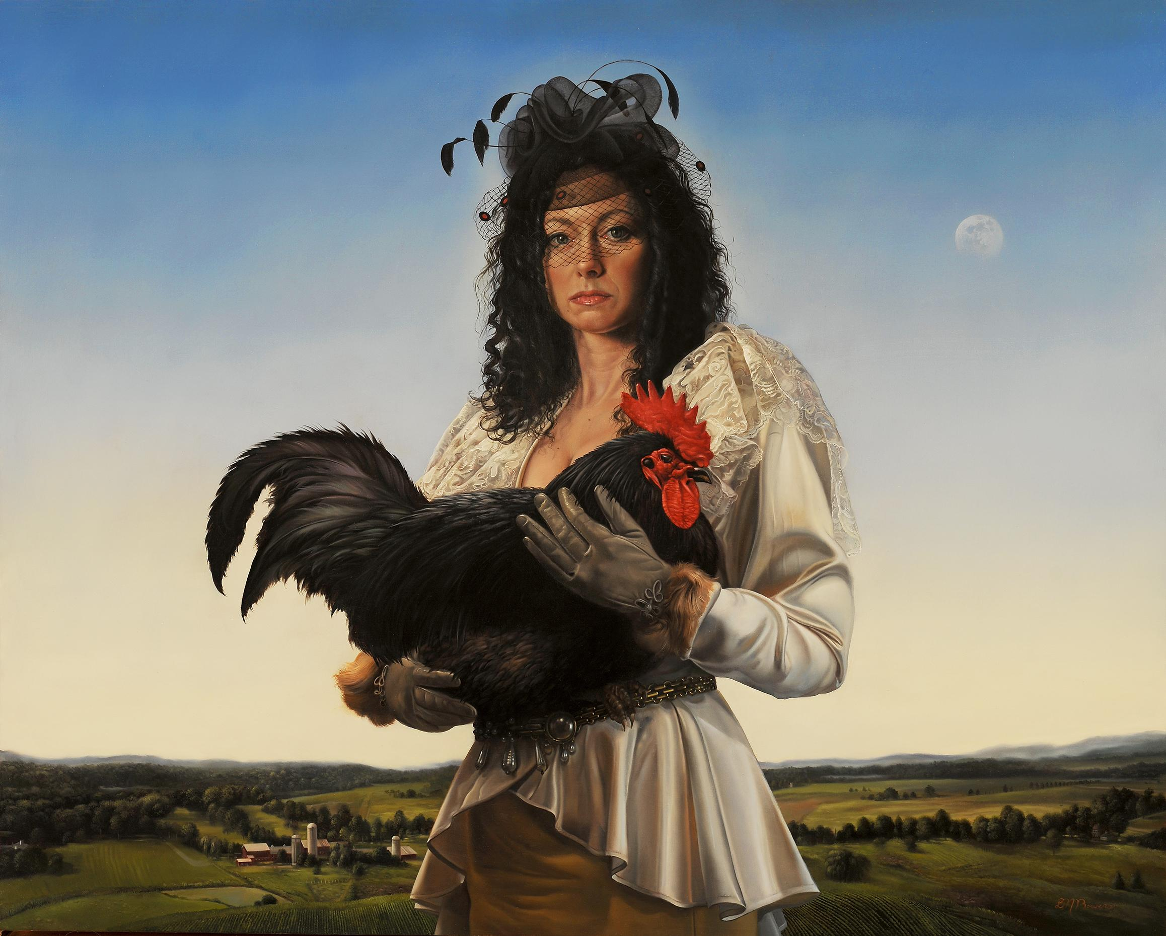 """""""Cock Thief,"""" Oil Painting"""