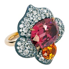 David Michael Gold Silver Pink Spinel and Garnet Ring