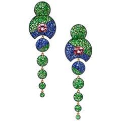 David Michael Silver Gold Pink Tourmaline and Tsavorite Garnet Earrings