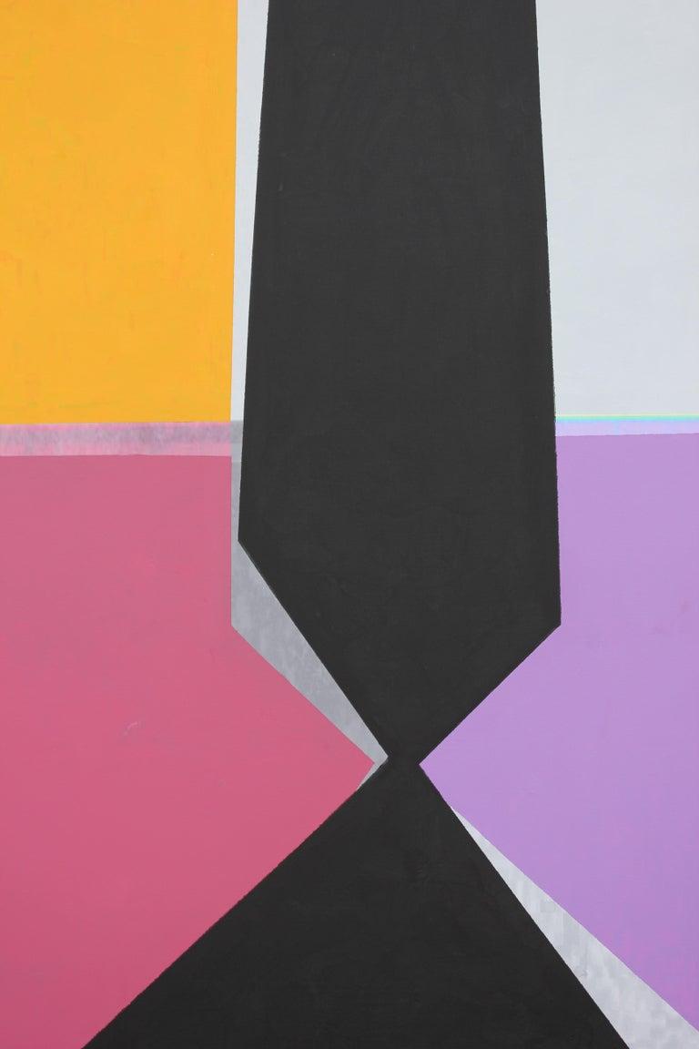 Modern Abstract Painting of Houston Rothko Chapel Sculpture Broken Obelisk - Brown Landscape Painting by David Miller