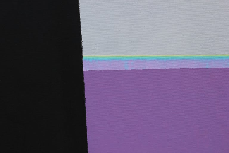 Beautiful geometric abstract representational painting of Houston's Rothko Chapel sculpture titled