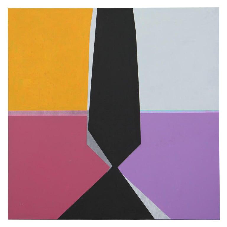 David Miller Landscape Painting - Modern Abstract Painting of Houston Rothko Chapel Sculpture Broken Obelisk