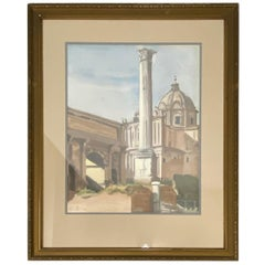 "David Mode Payne ""Column of Phocas"" Original Watercolor, circa 1932"