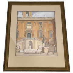 "David Mode Payne ""Piazza Del Campidoglio Marcus Aurelius Statue"" Watercolor 1932"