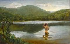 Alder Lake - nude woman standing in a sunlit  lake