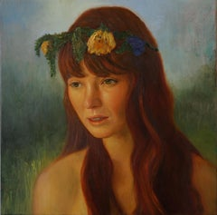 Flower Crown - woman wearing flowers - oil on linen