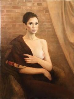 Lady in a Fur - Scout / oil on linen