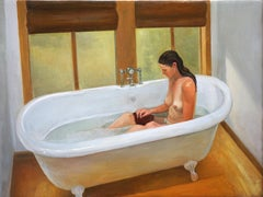 Phoenician Bath - young woman bathing - oil on canvas