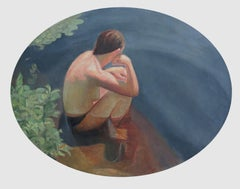 Reading the Ripples - small oval painting