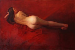 Red Lounge - dramatic red reclining female nude - oil on canvas