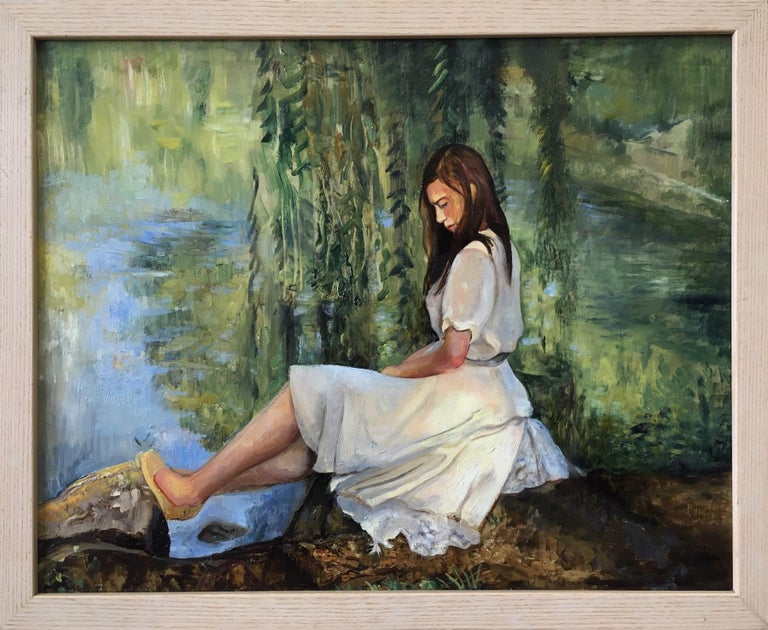 David Molesky Figurative Painting - Reflections by the Willow