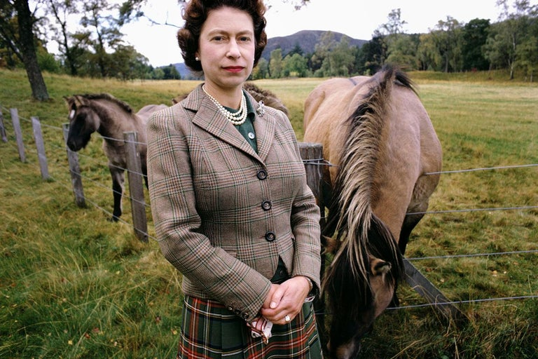 <i>Queen Elizabeth with Horses</i>, 1967, by David Montgomery, Peter Fetterman Gallery