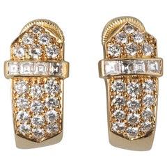 David Morris 18 Carat Gold Buckle Earclips with Brilliant Cut Diamonds
