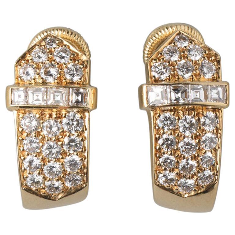 David Morris 18 Carat Gold Buckle Earclips with Brilliant Cut Diamonds For Sale