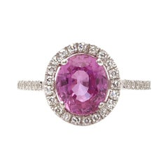 David Morris 18 Karat Gold Oval Cut Pink Sapphire and Diamond Cocktail Ring