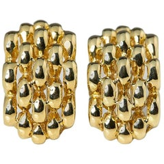 David Morris 18 Karat Yellow Gold Honeycomb Clip On Earrings