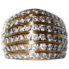 David Morris 18 Karat Yellow Gold White Round Brilliant Cut Diamond Bombé Ring
