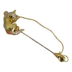 David Morris 18ct Gold VS Diamond Emerald Cat and Mouse Pin